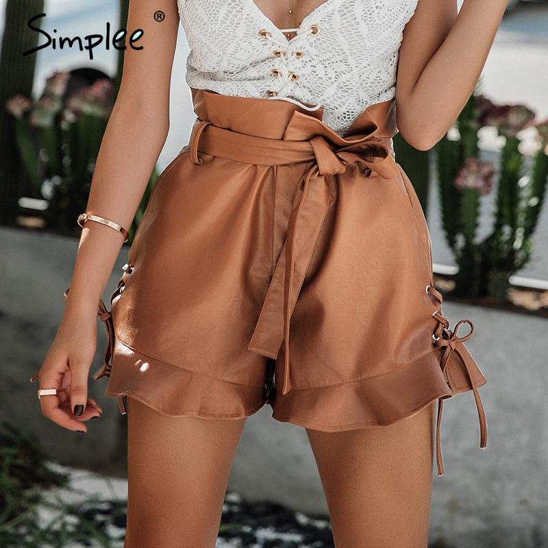[해외]심플 사이드 레이스 업 블랙 레더 반바지 여성용 벨트 아일릿 하이 웨이스트 반바지 2017 가을 낙타 짧은 서류 가방 바닥/Simplee Side lace up black Leather shorts Women cinched belt eyelet high wais