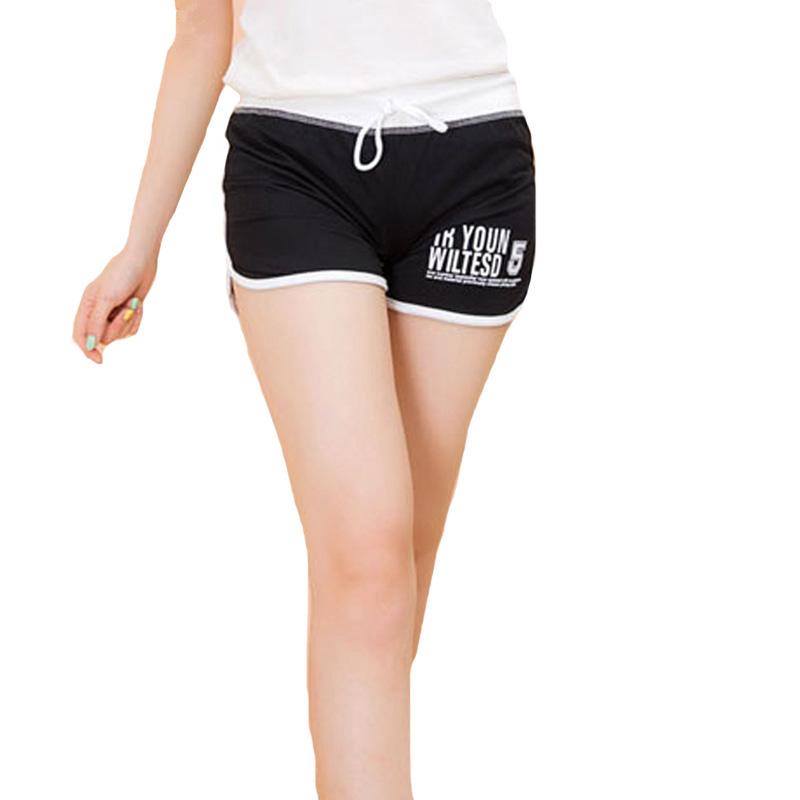 [해외]CUHAKCI 여성복 여름 2016 캐주얼 편지 짧은 바지 플러스 사이즈 Women 's Sportswear Shorts 블랙 코튼 여성 반바지/CUHAKCI Women&s Clothing Summer 2016 Casual Letters Short Pan