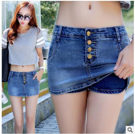 [해외]2017 최신 여성 여름 데님 스커트 반바지 캐쥬얼 슬림 중간 허리 싱글 브레스트 데님 짧은 반바지 Femme 반바지 청바지 K81/2017 Newest Womens Summer Denim Skirt Shorts Casuall Slim Middle-Waist S