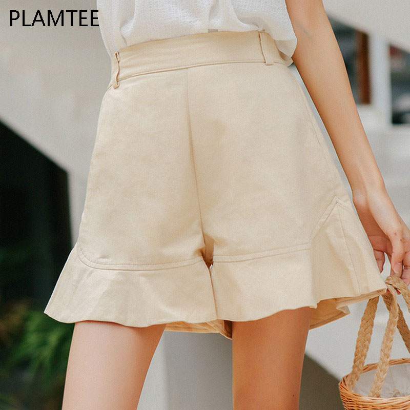 [해외]PLAMTEE 여성 & 반바지 캐주얼 하이 웨이스트 여성 쇼트 팬츠 솔리드 신축성 허리 반바지 루즈 밑단 러플 와이드 레그 쇼트 팬츠/PLAMTEE Women&s Shorts Casual High Waist Female Short Pants Solid E