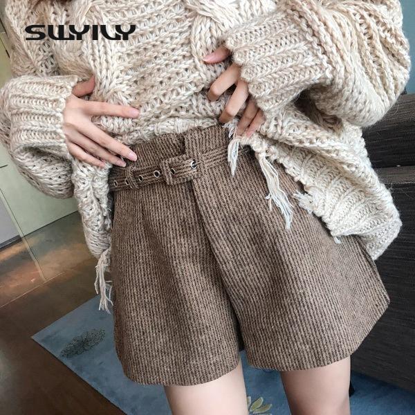 [해외]SWYIVY 여성 짧은 바지 겨울 모직 따뜻한 겨울 모직 반바지 여성 레트로 두꺼운 따뜻한 높은 허리 바지 벨트 품질 줄무늬/SWYIVY Women Short Pants Winter Wool Warm Winter Woollen Shorts Female Retro