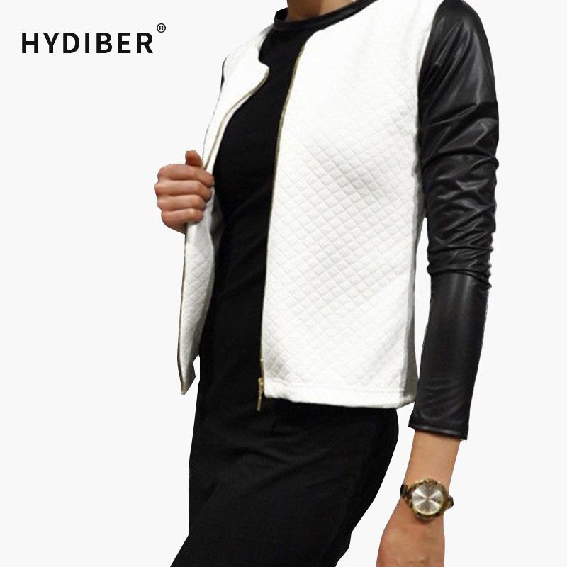 [해외]2015 가을 기본 재킷 여자 PU Leater 패치 워크 블랙 화이트 짧은 코트 긴 Retail 아가일 면화 코트 자켓 Z48/2015 Autumn Basic Jacket Women PU Leater Patchwork Black White Short Coat