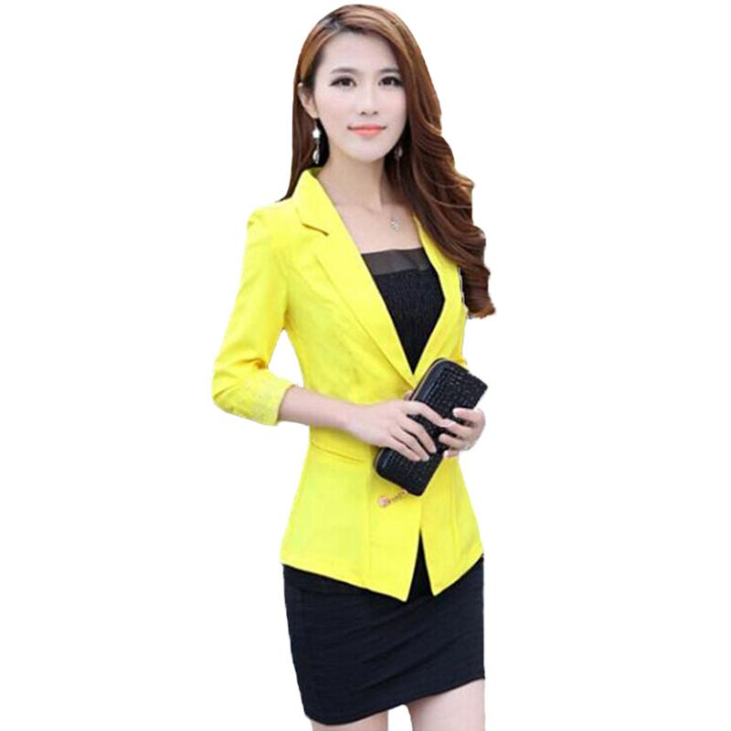 [해외]정리 패션 여성 슬림 코트 캔디 컬러 3 분기 슬리브 정장 원 버튼 얇은 코트 여성 정장 재킷 Ol 워크웨어/Clearance Fashion Women Slim Coat Candy Color Three Quarter Sleeve Suit One Button Th