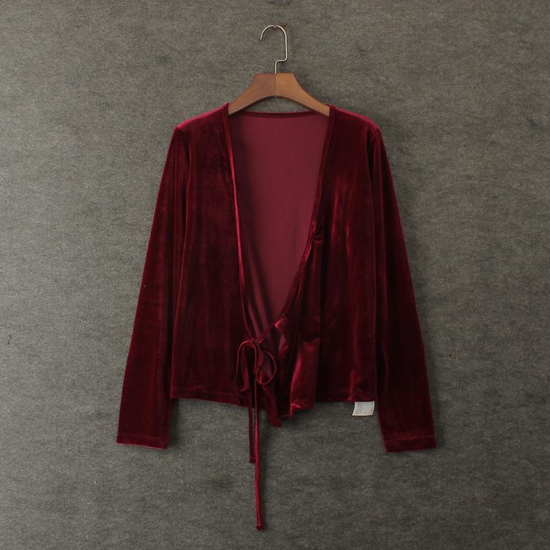 [해외]여성 패션 V 넥 롱 원단 짧은 겉옷 짧은 디자인 짧은 V 넥 디자인 총 레이스 벨벳 클래식/Women&s fashion vintage normic all-match lacing velvet cape short design deep V-neck long-slee