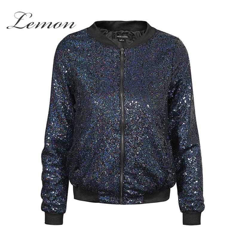 [해외]레몬 가을 새로운 유행 캐주얼 폭격기 재킷 지퍼 주머니 재킷 장식품 스팽글 아우터 슬림 Streetwear 코트/Lemon Autumn New Fashion Casual Bomber Jackets Zipper Pockets Jackets Blingbling Se