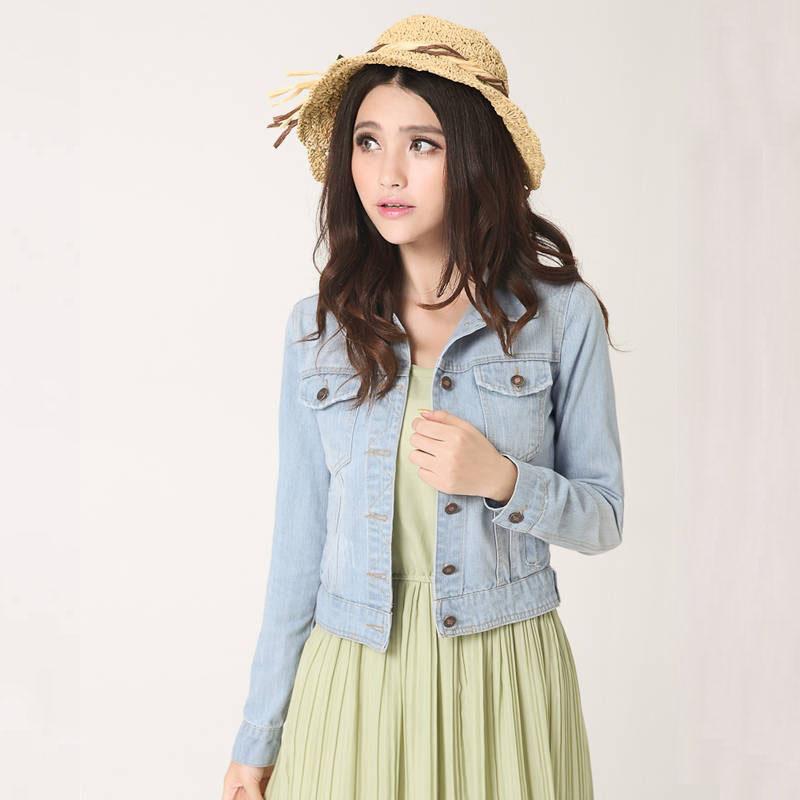 [해외]새로 가을 빈티지 패션 데님 코트 옷을 거꾸로 칼라 여성 자르기 톱 솔리드 슬림 긴 Retail 숙녀 자켓 62471/Newly Autumn Vintage Fashion Denim Coats Clothes Turn-down Collar Women Crop Top