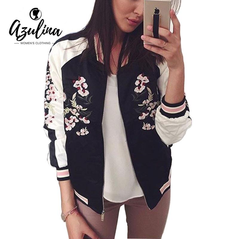 [해외]AZULINA 가역 코트 자수 꽃 자수 폭탄 자켓 여성 가을 ??꽃 야구 기본 자켓 여성 블랙 코트 2017/AZULINA Reversible Jacket Coat Floral Embroidered Bomber Jacket Women Autumn Flower B