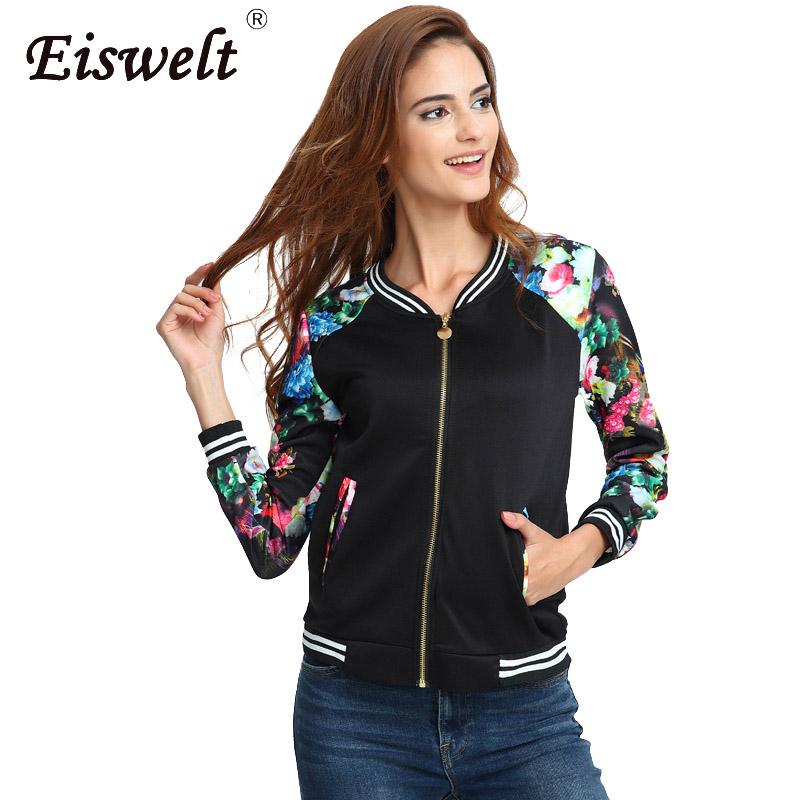 [해외]플러스 사이즈 플라워 프린트 여성 자켓 줄무늬 탑스 캐주얼 야구 단추 얇은 스웨트 폭탄 긴팔 코트 자켓/Plus Size Flower Print Women Jacket Striped Tops Girl Casual Baseball Button Thin Sweats