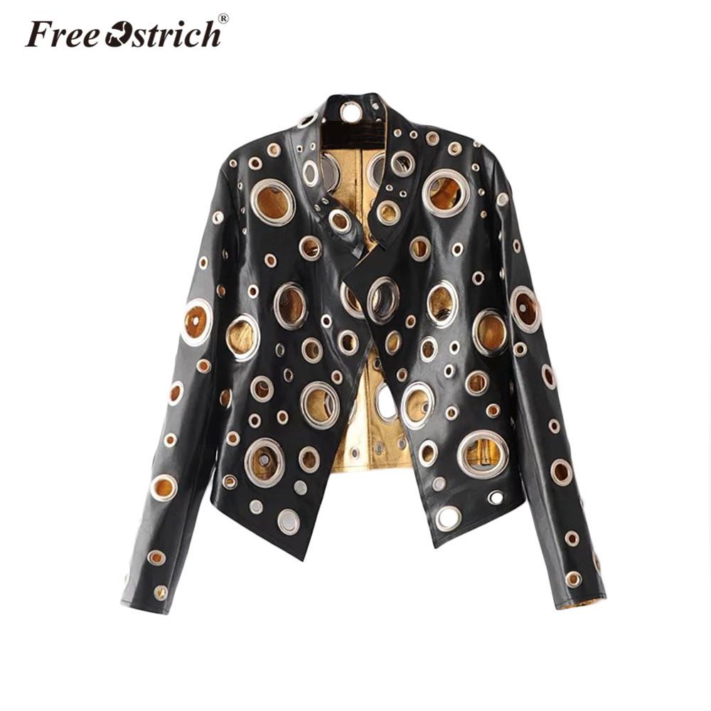 [해외]FREE OSTRICH 2018 가을 겨울 자켓 패션 슬림 메탈 링 중공 블랙 골드 긴 Retail 멋진 가죽 자켓 코트 4243/FREE OSTRICH 2018 Autumn Winter Jacket  Fashion Slim Metal Ring Hollow Ou