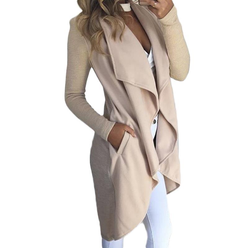 [해외]가을 패션 여성 자 켓 코트 롱 가디건 비정형 턴 다운 칼라 재킷 레이디 캐주얼 오버 코트 WS1998M/Autumn Fashion Women Jackets Coats Long Cardigan Irregular Turn-Down Collar Jackets Lad