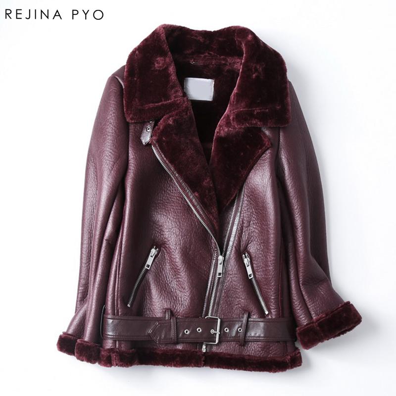 [해외]Rejina Pyo 여성 모토 및 바이커 스타일 PU 방수 아웃웨어 자켓 여성 슬림 턴 다운 칼라 인조 모피 레이디 쇼트 코트 재킷/Rejina Pyo Women Moto&Biker Style  PU water-proof Outwear Jackets Fe