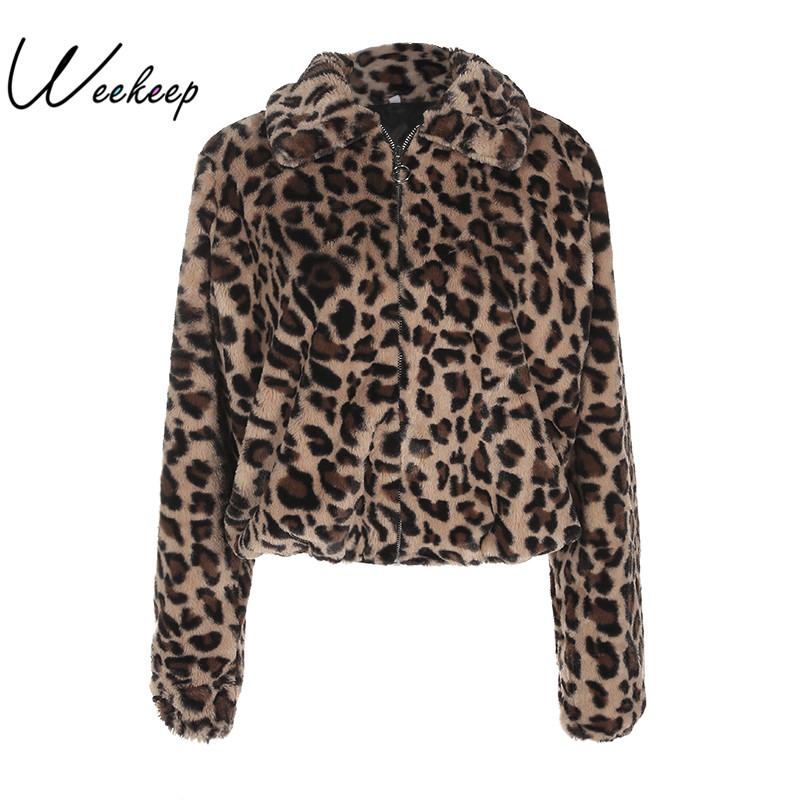 [해외]Weekeep 2017 Winter New Women 워머 레오파드 코트와 재킷 캐주얼 턴 다운 칼라 지퍼 자켓 Casaco Feminino 탑/Weekeep 2017 Winter New Women Warm Leopard Coats And Jackets Fash