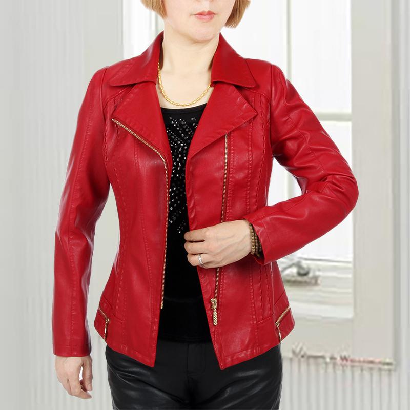 [해외]XL-6XL 가죽 자 켓 여성 PU 봄과 가을 씻어 중 년 어머니 젊은 숙 녀 양복 칼라 코트 슬림 얇은 J283/XL-6XL Leather Jacket Women Washed Pu Spring And Autumn Middle-aged Mother Young L