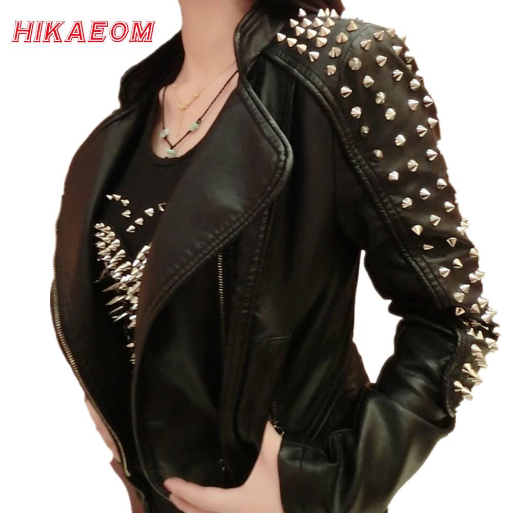 [해외]Casaco Feminino Kim Kardashian 가죽 자켓 스파이크 별 슬림 바이메탈 실버 리벳 금속 자켓 Pu 가죽 코트 여성/Casaco Feminino Kim Kardashian Leather Jacket Spikes Stars Slim Bi-met