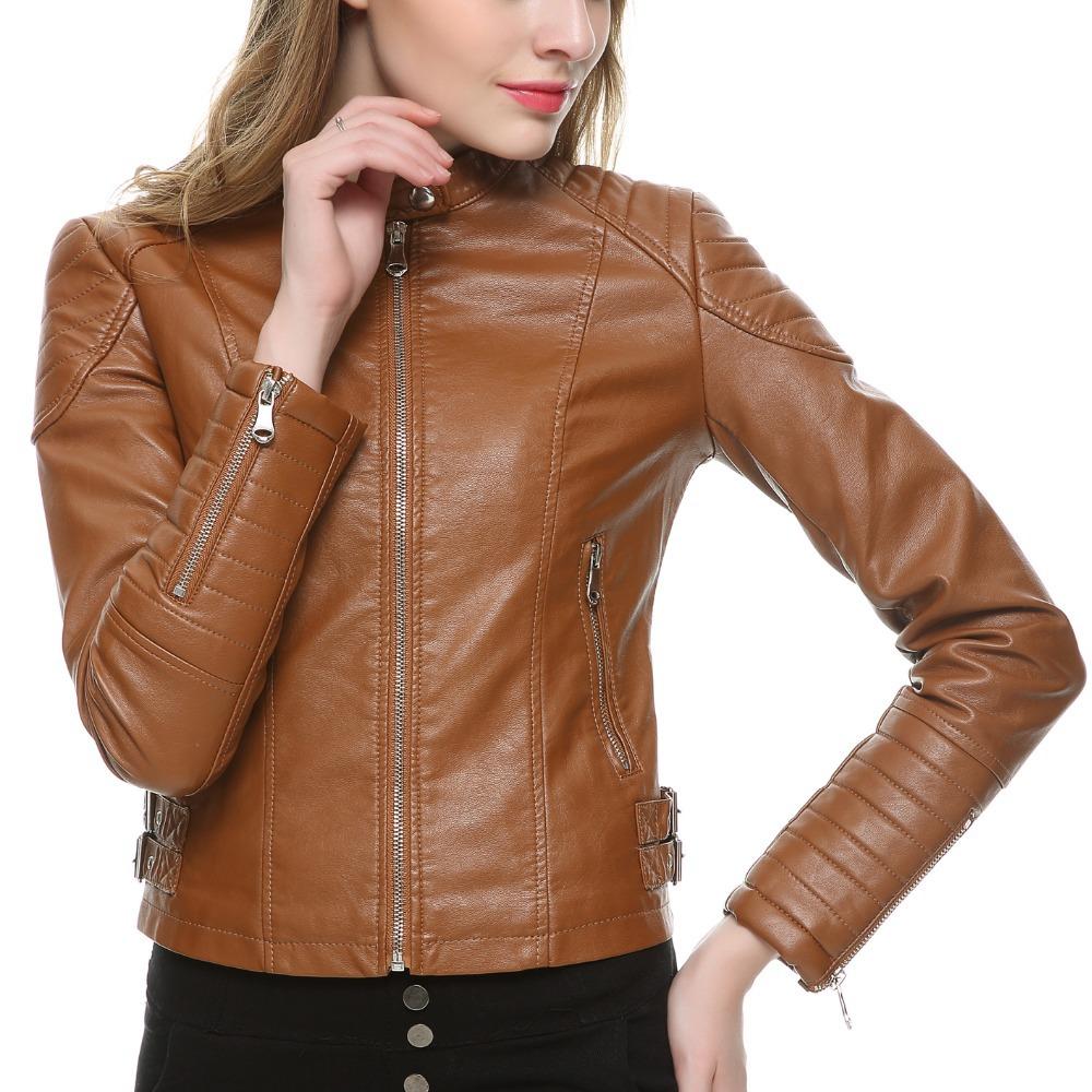 [해외]2017 브라운 블랙 가짜 가죽 자켓 여성 짧은 슬림 브랜드 오토바이 바이 커 자켓 화이트 가죽 코트 Chaquetas Mujer 2 색/2017 Brown Black Faux Leather Jacket Women Short Slim brand Motorcycl