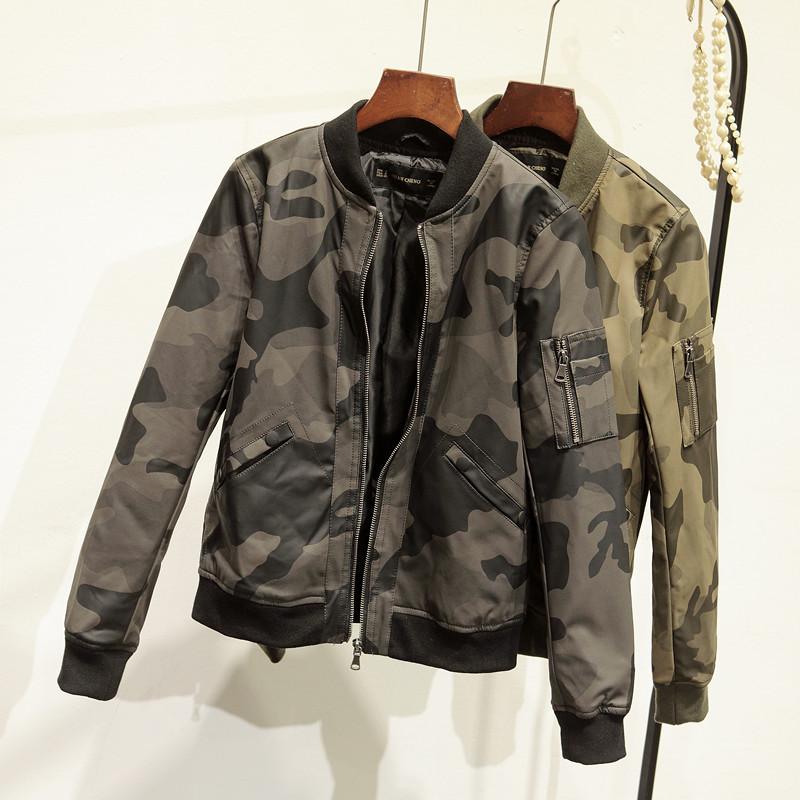 [해외]2017 새로운 봄 가을 위장 여성 PU 자 켓 오토바이 지퍼 코트 가짜 가죽 자 켓/2017 New Spring Autumn Camouflage Women PU Jacket Motorcycle Zipper Coat Faux Leather Jackets