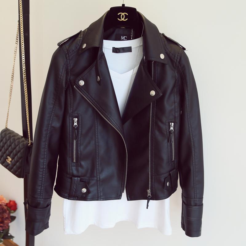 [해외]새로운 가을 겨울 Pu 가죽 재킷 가짜 부드러운 가죽 코트 슬림 블랙 리벳 지퍼 오토바이 자켓 여자 바이 커 자켓/New Autumn Winter Pu Leather Jacket Faux Soft Leather Coat Slim Black Rivet Zipper