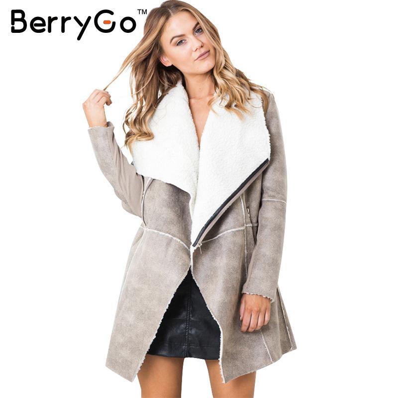 [해외]BerryGo 스웨이드 lambswool 코트 여성 2016 가을 겨울 따뜻한 지퍼 긴 코트 우아한 넓은 waisted 오버 코트 캐시미어/BerryGo Suede lambswool coat women 2016  Autumn winter warm zipper l