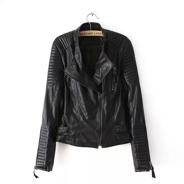 [해외]2017 Lika Rulla 탑 브랜드 S-L 새로운 봄 가을 조절 허리 지퍼 Draped Cross 패션 여성 Black Slim Leather Jacket/2017 Lika Rulla Top Brand S-L New Spring Autumn Adjustabl