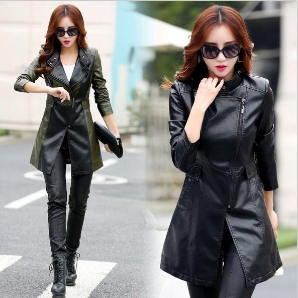[해외]오블 리크 지퍼 가죽 자켓 여성 봄 플러스 크기 3XL 4XL 5XL 슬림 가짜 Pu 겉옷 롱 여성 가죽 트렌치 코트 여성/Oblique Zipper Leather Jacket Women Spring Plus Size 3XL 4XL 5XL Slim Faux Pu