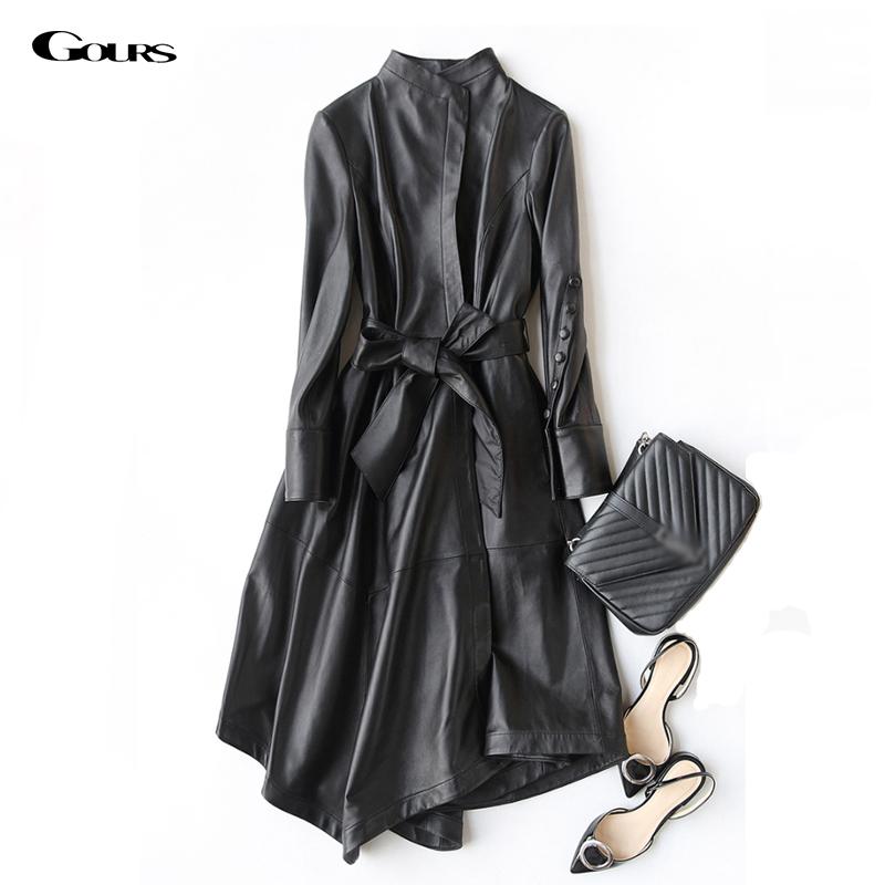 [해외]여성을Gours  가죽 코트 봄 패션 클래식 긴 Retail 슬림 코트 숙녀 가죽 방풍 양피 자켓/Gours Genuine Leather Coat for Women Spring Fashion Classic Long Sleeve Slim Coat Ladies Le
