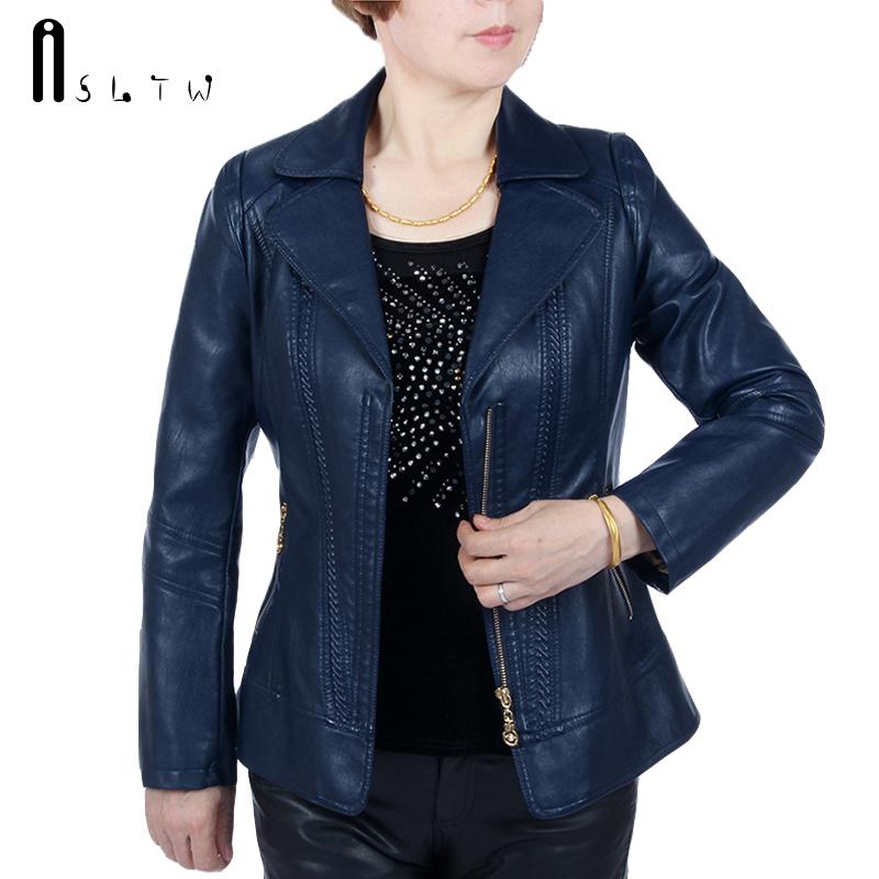 [해외]ASLTW XL-6XL 5 색 가죽 자켓 여성 새로운 패션 더하기 크기 단색 지퍼 자켓 긴 Retail 인조 가죽 코트를 거꾸로/ASLTW XL-6XL 5 Colors Leather Jacket Women New Fashion Plus Size Solid Zip