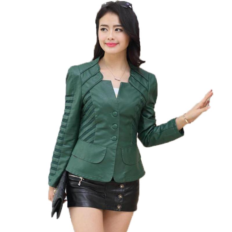 [해외]새로운 2017 봄 가을 가죽 자켓 여성 슬림 턴 다운 칼라 블랙 가짜 모피 코트 플러스 사이즈 오토바이 타는 사람 그린 저렴한/New 2017 Spring Autumn Leather Jacket Women Slim Turn-down Collar Black Fa