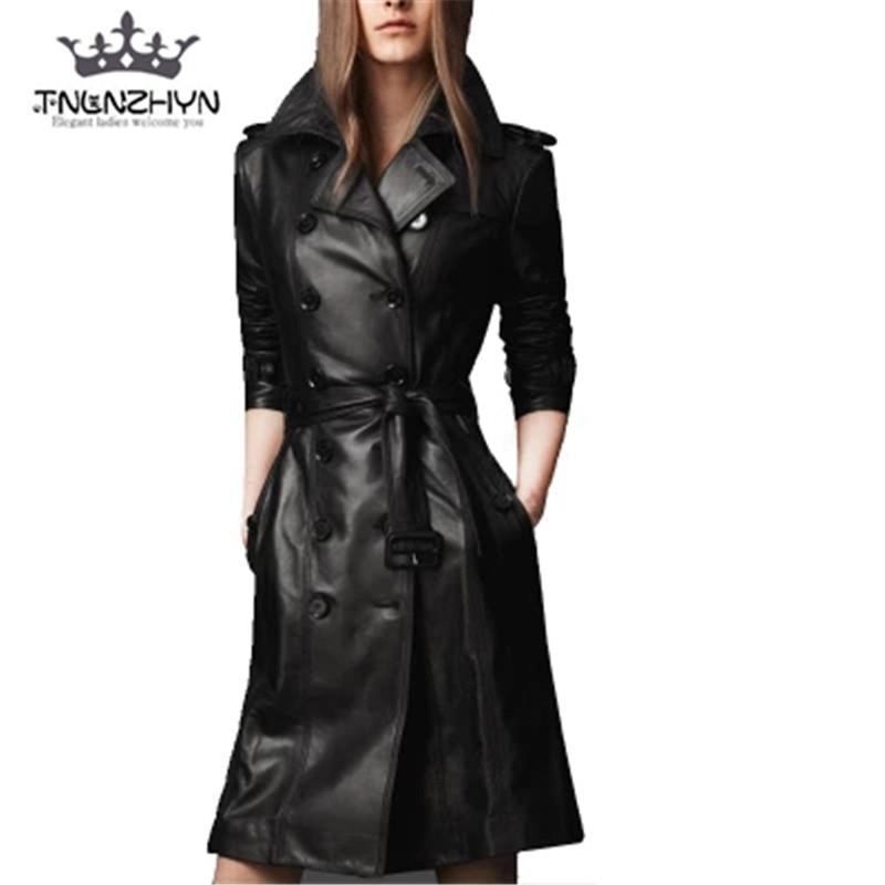 [해외]tnlnzhyn 2017Autumn 겨울 여성 가죽 자켓 양모 코트 pu 가짜 가죽 자켓 중간 긴 트렌치 코트 Outwear Y378/tnlnzhyn 2017Autumn Winter Women Leather Jacket double-breasted Coat pu