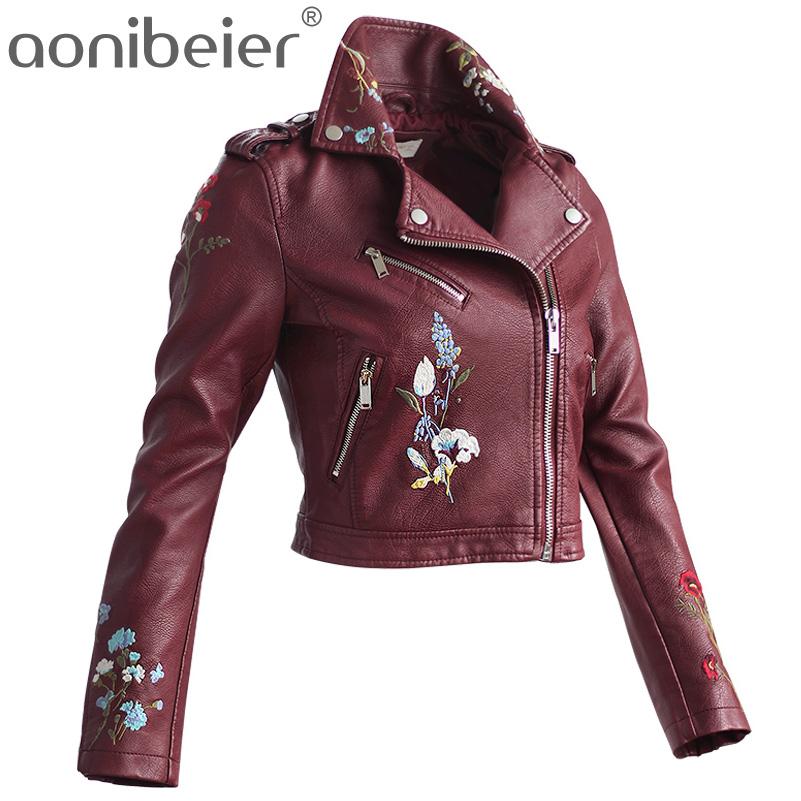 [해외]Aonibeier 자수 가짜 가죽 코트 오토바이 지퍼 자켓 여성 패션 쿨 아우터의 꽃 거리 자켓 긴 Retail/Aonibeier Embroidery Faux Leather Coat Motorcycle Zipper Jacket Women Fashion Cool