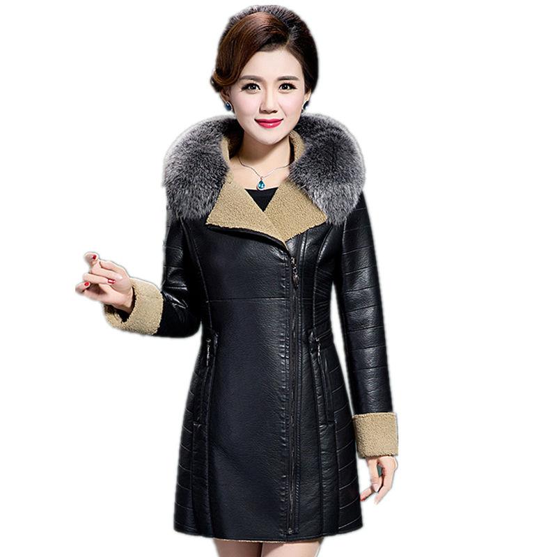 [해외]두꺼운 따뜻한 가죽 자켓 여성 겨울 자켓 여성 의류 2017 유럽 스타일 브랜드 파카 롱 모피 칼라 6XL/Thicken Warm Leather Jacket Women Winter Jacket Female Clothing 2017  European Style B