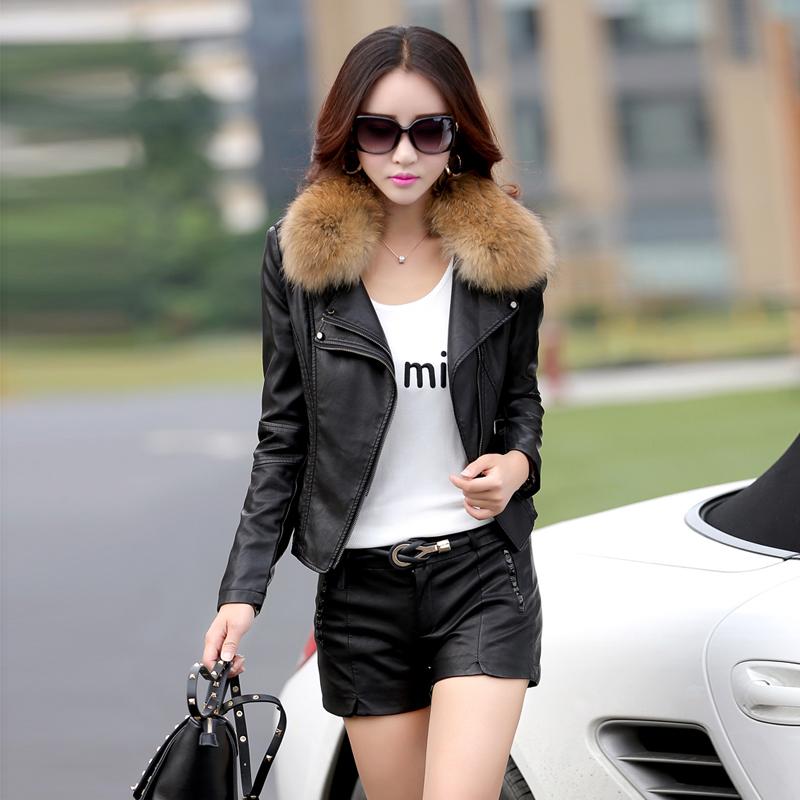 [해외]가죽 자켓 여성 짧은 오토바이 가죽 재킷 봄 가을 숙녀 너구리 모피 칼라 가죽 코트 플러스 크기 m-5xl 926/leather jacket women short motorcycle leather jacket spring autumn ladies raccoon