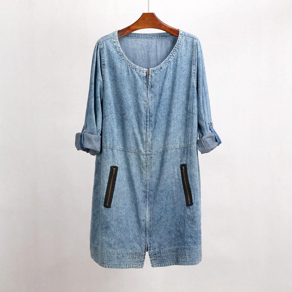 [해외]CM256 캐주얼 플러스 사이즈 코튼 롱 튜닉 데님 트렌치 코트 여성 2017 청바지 긴 Retail 얇은 코트 여성 루스 Outerwear/CM256 Casual Plus Size Cotton Long Tunics Denim Trench Coat For Wom