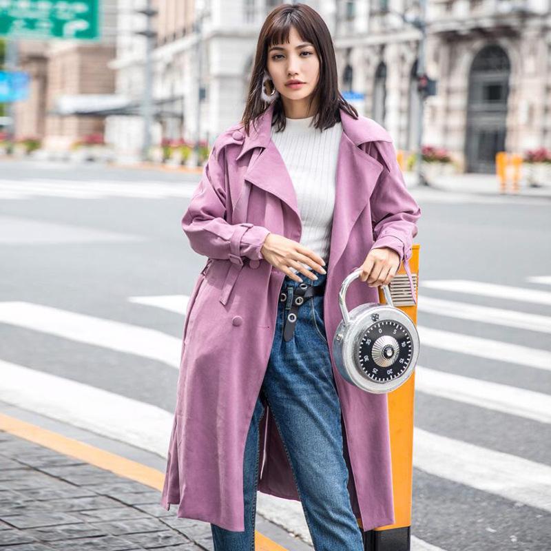 [해외]라벤더 퍼플 핑크 맥시 긴 트렌치 코트 여성 가을 ??빈티지 특대 플러스 크기 더블 브레스트 x 길이 트렌치 코트 2017/Lavender purple pink maxi long trench coat women autumn vintage oversize plus