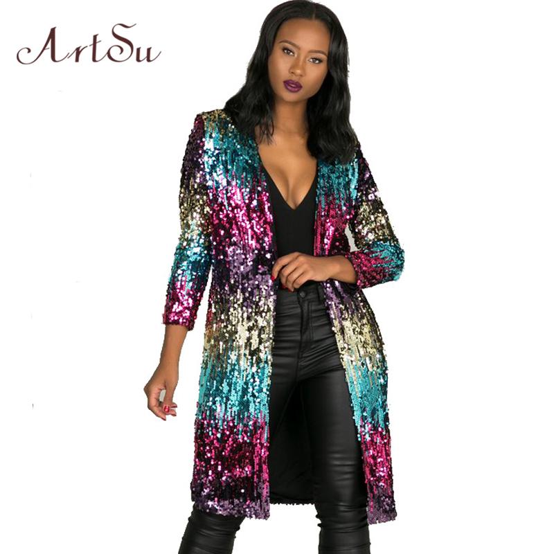 [해외]ArtSu 패션 봄 여성 윈드 커튼 트렌치 코트 긴 Retail 겨울 캐주얼 스팽글 클럽 그라디언트 슬림 코트 Outwear ASCO30043/ArtSu Fashion Spring Women Windbreaker Trench Coats Long Sleeve Wi