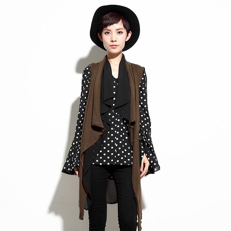 [해외]일본 스트리트 벨트 더블 레이어시 폰 여성용 조끼 우아한 여성 조끼 카디 건 긴 외출 패션 코트/Japanese Street Belt Double Layer Chiffon Women&s Vest For Women Elegant Female Waistcoats C