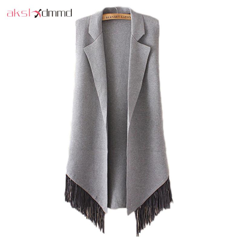[해외]AKSLXDMMD 여성 니트 카디 건 스웨터 조끼 코트 2017 새로운가 패션 슬리브리스 술 롱 롱 자켓 여성 LH933/AKSLXDMMD Women Knitted Cardigan Sweater Vest Coat 2017 New Autumn Fashion Sle