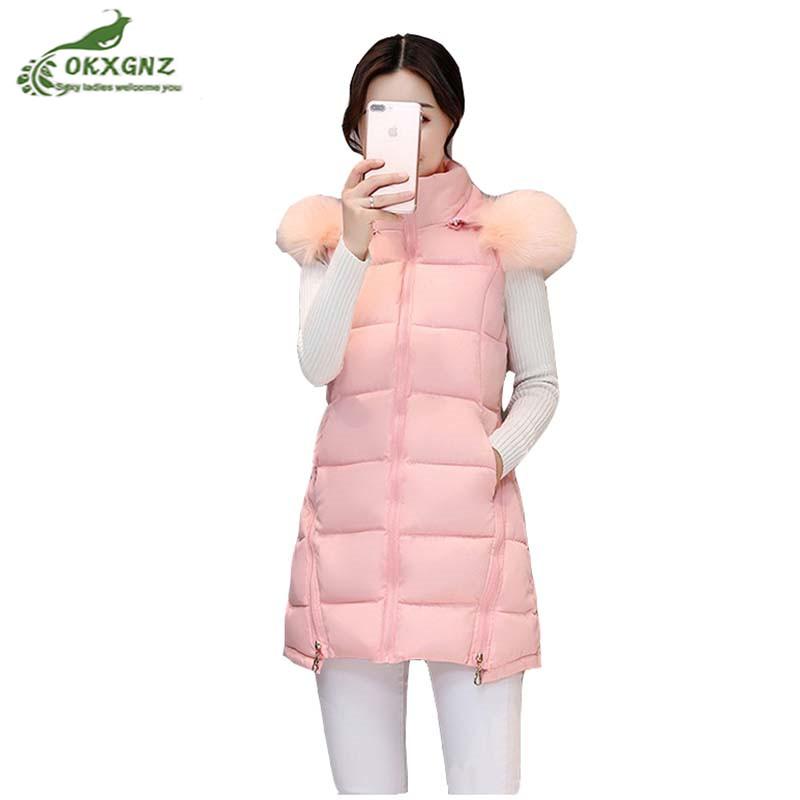 [해외]가을 중간 긴 깃털 면화 조끼 겉옷 여성 겨울 새로운 대형 패션 유행 칼라 자켓 코트 여성 OKXGNZ AF180/Autumn medium long feather cotton vest Outerwear female winter new Large size fash