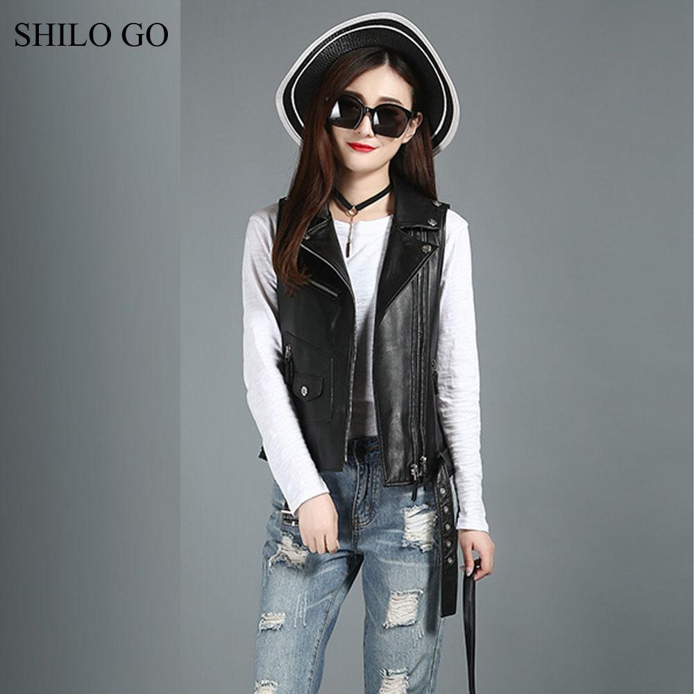 [해외]SHILO GO 가죽 조끼 여자 가을 양가죽 진짜 가죽 조끼 단추 옷깃 정면 두 배 지퍼 리벳 벨트 기관차 조끼/SHILO GO Leather Vest Womens Autumn sheepskin genuine leather Vest button lapel fro