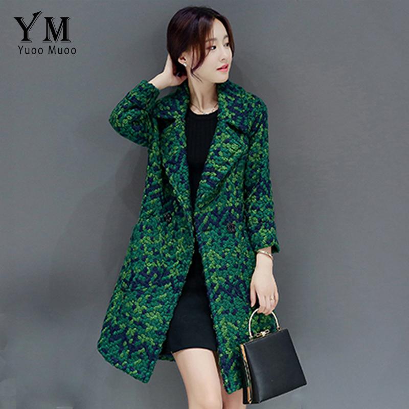 [해외]YuooMuoo Wool Coat Women 슬림 중형 트위드 자켓 패션 여성 Outwear 그린 코트 브랜드 Women Jacket/YuooMuoo  Wool Coat Women Slim Medium-long Tweed Jacket Fashion Female
