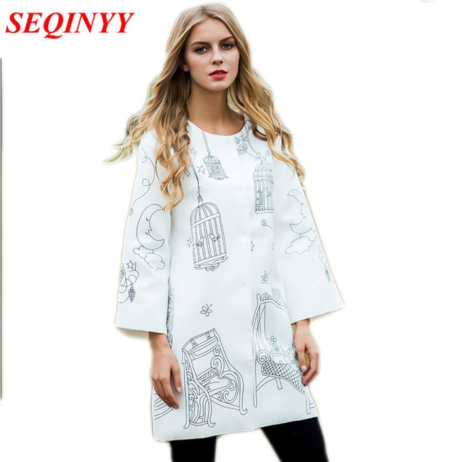 [해외]인쇄 코트 새로운 긴 Retail 여성 2017 가을 겨울 화이트 숙녀 느슨한 따뜻한 패션 매일 새 코트/Print Coat New Long Sleeve Women 2017 Autumn Winter  White Ladies Loose Warm Fashion Da