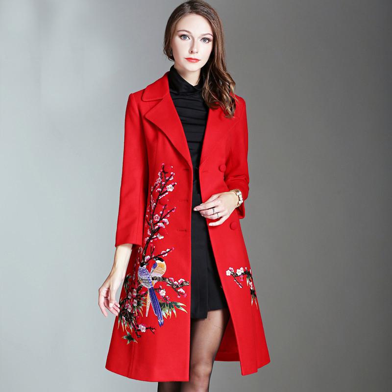 [해외]2017 새로운 가을 겨울 우아한 자 수 여성 롱 코트 핫 세일 유럽 전체 슬리브 턴 다운 칼라 슬림 코트 겉옷/2017 New Autumn Winter Elegant Embroidery Women Long Coat Hot Selling European Full