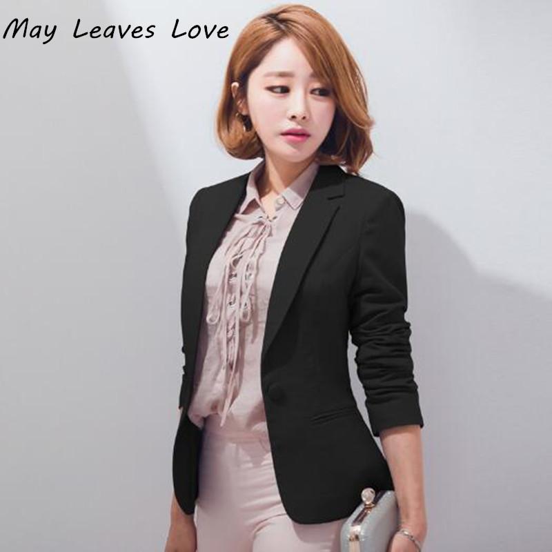 [해외]May Leaves Love 2017 봄 한국 디자이너 단색 긴팔 정장 여성 슬림 캐주얼 블레이저 여성/May Leaves Love 2017 Spring Korean Designer Solid Long Sleeve Suit Women Slim Casual Bla