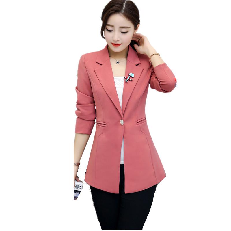 [해외]봄 작업 긴 자 켓 2017 양복 블레 이저 여성 한 단추 블레저 Feminino 숙 녀 블레 이저 플러스 크기 4XL Office Outwear C3178/Spring Work Long Jacket 2017 Suit Blazer Women Single Butt