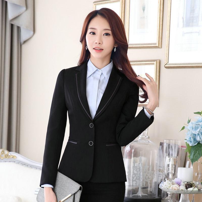 [해외]2017 업무용 비즈니스 용 긴팔 그레이 2 버튼 블레이저 오피스 캐주얼 공식 여성 OL 슬림 우아한 블랙 런웨이 아웃웨어 자켓/2017 Work Business Long Sleeves Grey 2 button Blazers Office Casual Formal