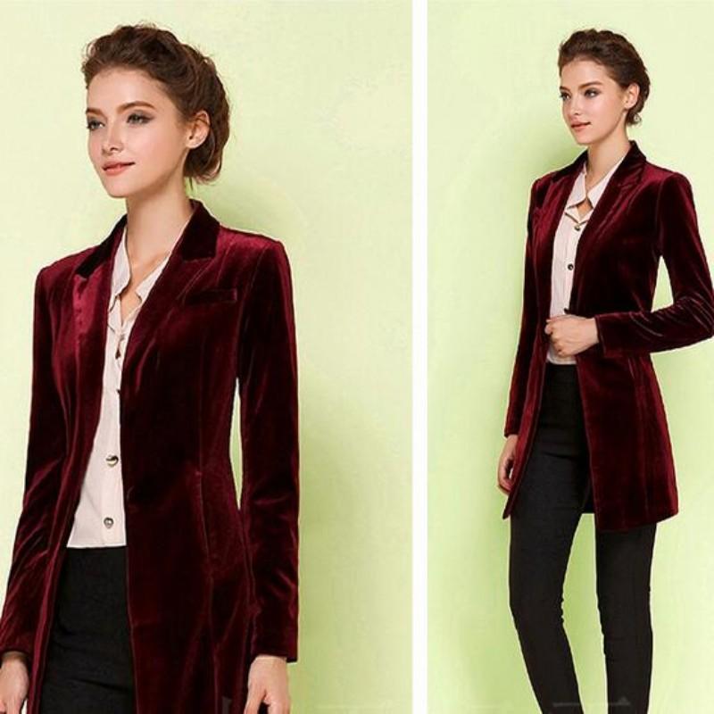 [해외]새로운 여성 세련된 탑 유럽 여성 & 벨벳 블레이저 슬림 피트 롱 OL 재킷 숙녀 블라우스 플러스 사이즈/New Female  Chic Tops Europe women&s velvet blazer Slim Fit Long OL jacket Ladies B