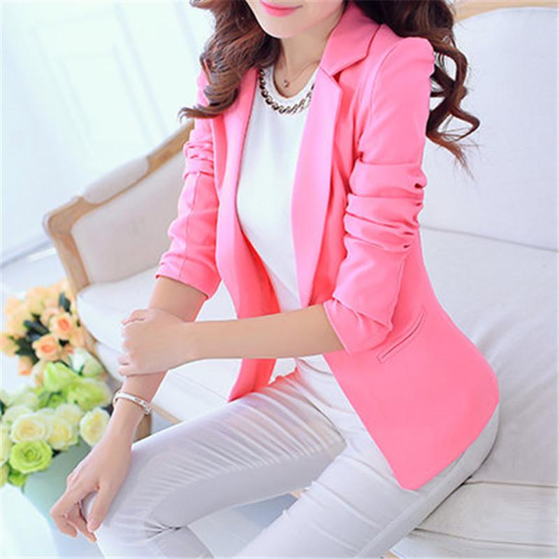 해외 여성 블레이저와 재킷 2016 봄 가을 패션 싱글 버튼 블레이져 Femenino 화이트 e756535b14af