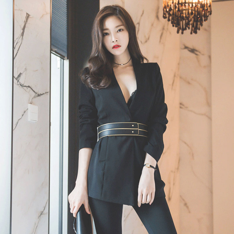 [해외]섹시한 V 넥 슬림 붕대 블랙 블레 이저 여성 블레 이저 및 자켓 패션 오피스웨어 jaqueta feminina 겨울 블레이져/Sexy V-neck Slim Bandage Black Blazer Women Blazers and Jackets Fashion Off