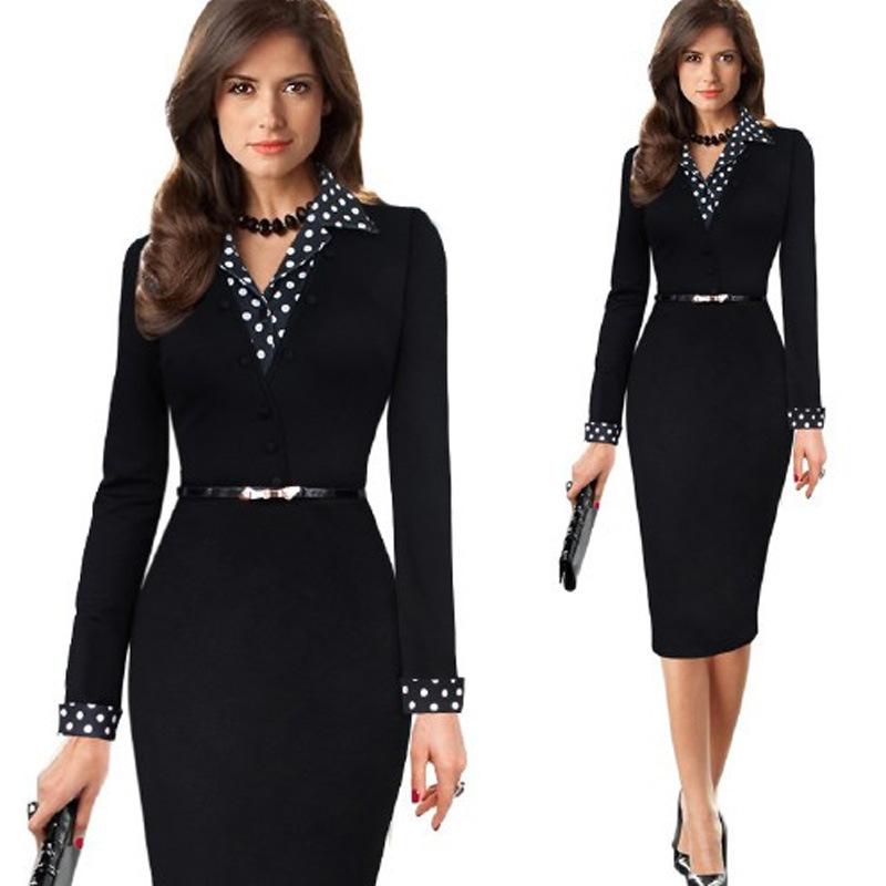[해외]여성 Office Dress 긴 Kleider 우아한 2016 숙녀 연필 Bodycon Vestidos 착용 비즈니스 드레스 정장 V- 목/Women Office Dress Long Kleider Elegant 2016 Ladies Pencil Bodycon V