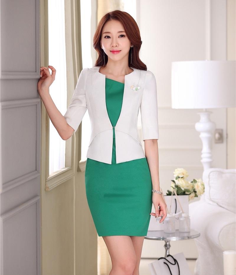 [해외]여성을정식 여성 복장 정장 비즈니스 정장 여성 복장 및 자켓 세트 흰색 패션 사무복 스타일/Formal Ladies Dress Suits for Women Business Suits Female Dress and Jacket Sets White Fashion O