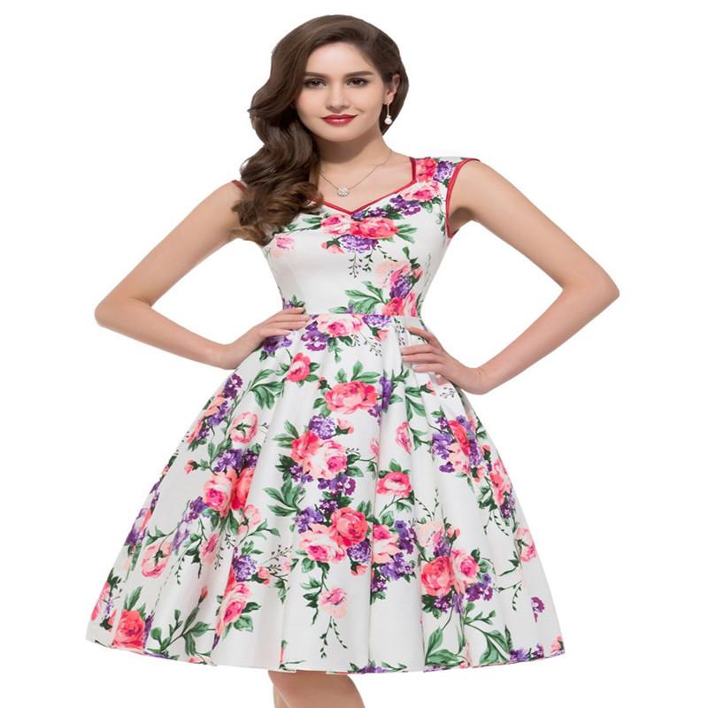 [해외]여성 꽃 한 조각 드레스 정장 여름 50s 복고풍 오드리 헵번 빈티지 Vestido 드 페스타 숙녀 파티 우아한 이브닝 드레스/Women Floral One Piece Dress Suit Summer 50s Retro Audrey Hepburn Vintage V